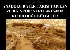 Anadolu'da ilk tarım yapılan ve ilk şehir yerleşkesinin kurulduğu bölgeler