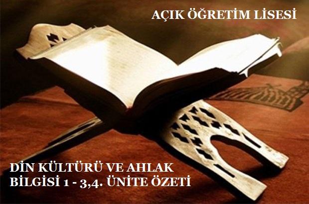 DİN KÜLTÜRÜ VE AHLAK BİLGİSİ 1 – 2,3. ÜNİTE ÖZETİ