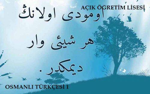 AÖL Osmanlıca 1 Kitabı Ders Notları Özeti