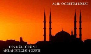 AÖL Din Kültürü ve Ahlak Bilgisi 4 Kitabı Ders Notları
