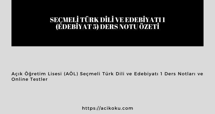 Seçmeli Türk Dili ve Edebiyatı 1 (Edebiyat 5) Ders Notu Özeti