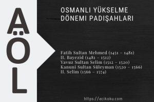 Osmanlı Yükselme Dönemi Padişahları