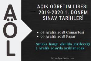 Açık Lise 2019-2020 1. Dönem Sınav tarihleri