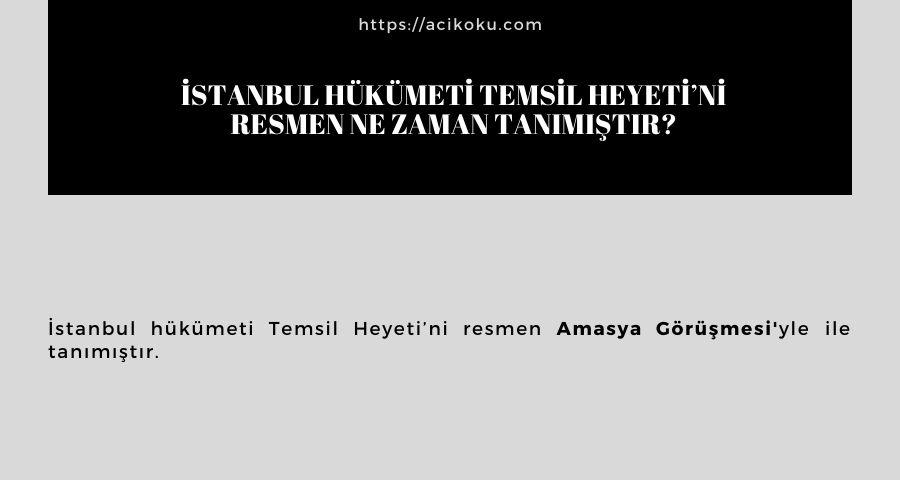 İstanbul hükümeti Temsil Heyeti'ni resmen ne zaman tanımıştır?