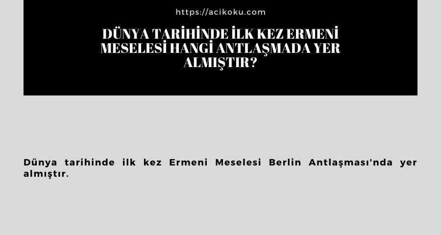 Dünya tarihinde ilk kez Ermeni Meselesi hangi antlaşmada yer almıştır?