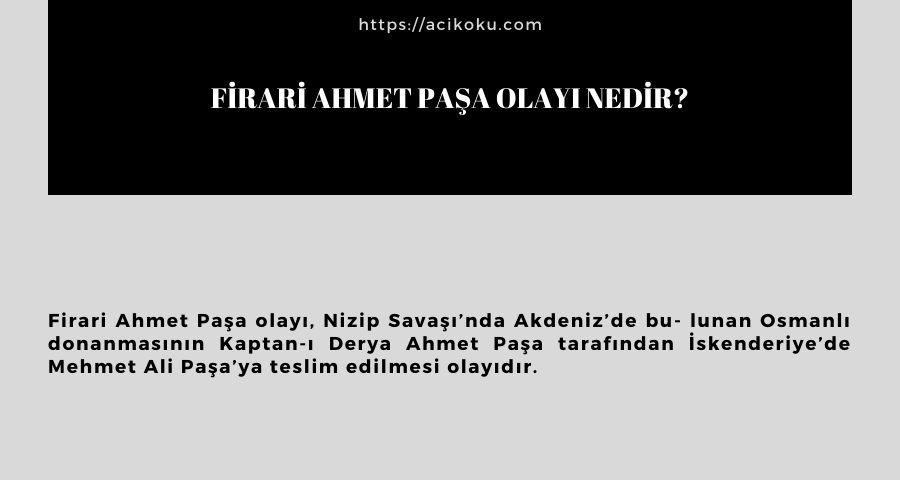 Firari Ahmet Paşa olayı nedir?