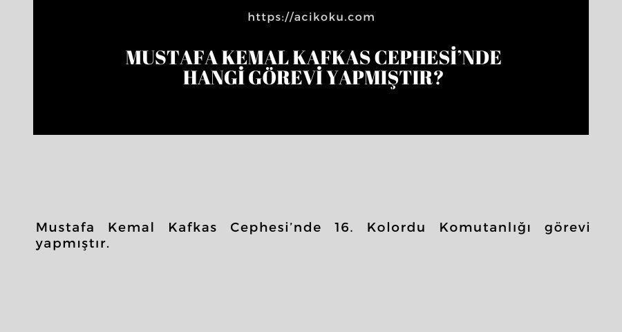 Mustafa Kemal Kafkas Cephesi'nde hangi görevi yapmıştır?