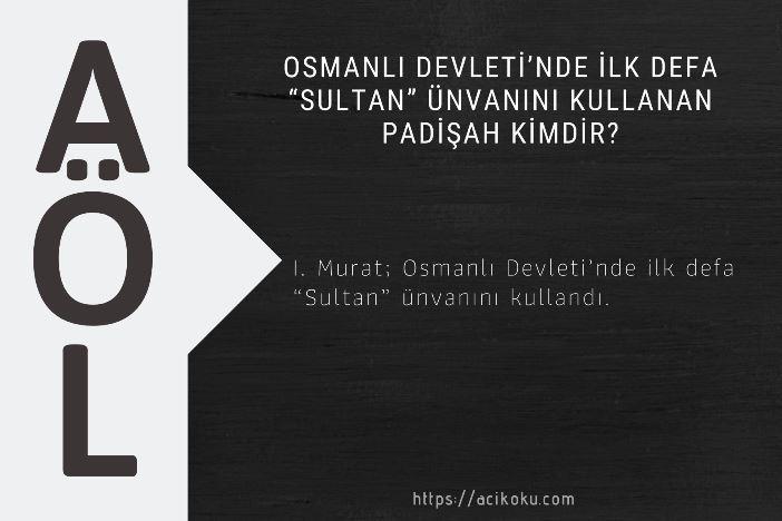 """Osmanlı Devleti'nde ilk defa """"Sultan"""" ünvanını kullanan padişah kimdir?"""
