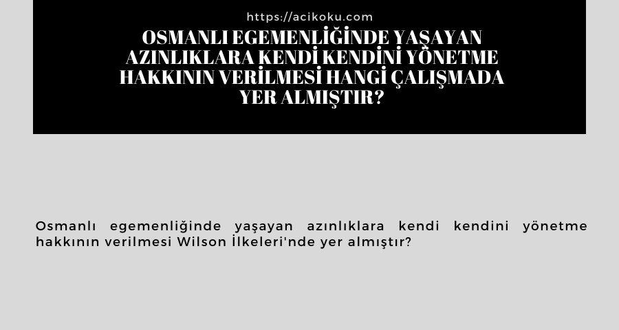 Osmanlı egemenliğinde yaşayan azınlıklara kendi kendini yönetme hakkının verilmesi hangi çalışmada yer almıştır?