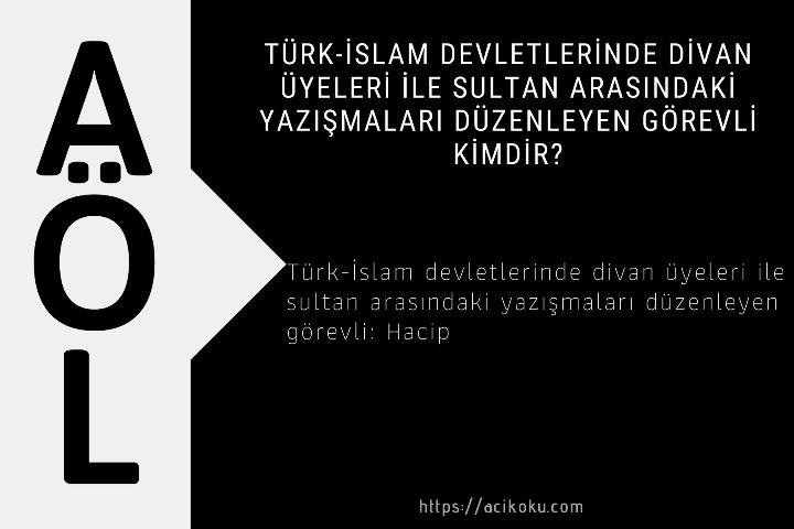 Türk-İslam devletlerinde divan üyeleri ile sultan arasındaki yazışmaları düzenleyen görevli kimdir?