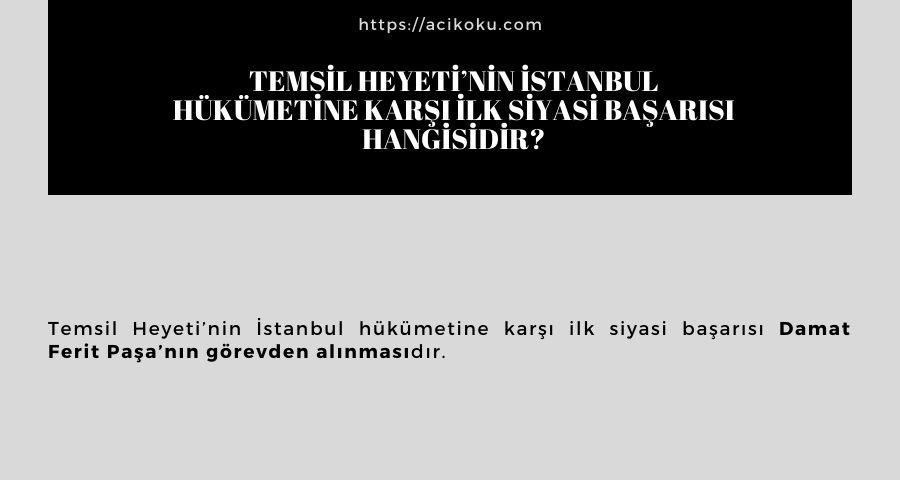 Temsil Heyeti'nin İstanbul hükümetine karşı ilk siyasi başarısı hangisidir?