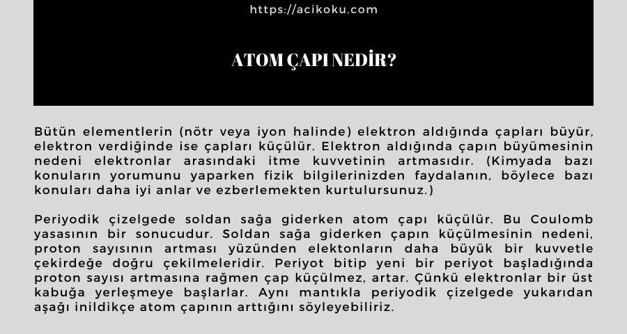 Atom Çapı Nedir?