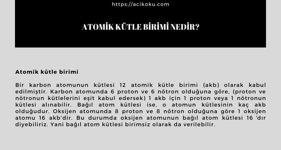 Atomik kütle birimi nedir?