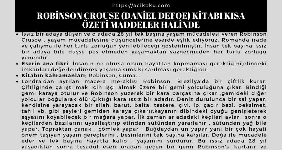 Robinson Crouse (Daniel Defoe) Kitabı Kısa Özeti Maddeler Halinde