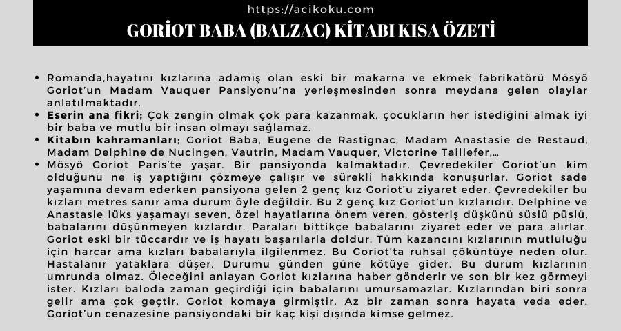 Goriot Baba (Balzac) Kitabı Kısa Özeti